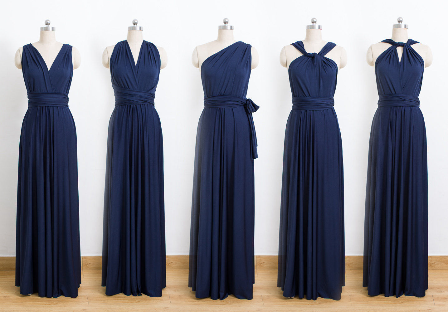 Dark Blue Convertible Dress Bridesmaid Infinity Floor Length Wrap Dresses