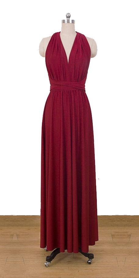 Floor length cherry red infinity dress multiway dress convertible long dress bridesmaid,dress wedding dress formal