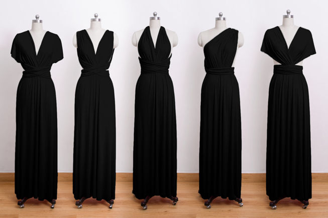 convertible wrap dress, infinity dress, long dress, black infinity dress, prom dress, long elegant dress, black gown
