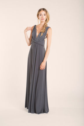 Long Gray infinity dress, convertible dresses, party dress, Evening Dress, bridesmaid dress, Wedding Gift