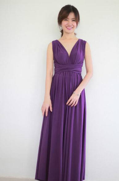 Dark Purple Grape Long Floor Length Infinity Dress Convertible