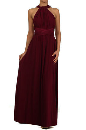 Floor length burgundy wine red infinity dress, Bridesmaid Dress, convertible dress red, Evening Christmas Party