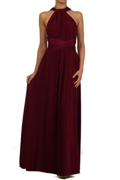 de133530cb2 Floor length burgundy wine red infinity dress, Bridesmaid Dress ...