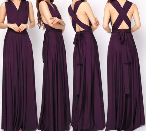 Purple party dress, aubergine infinity dress, event dress, eggplant bridesmaid dress, convertible versatile dress, Purple long dress