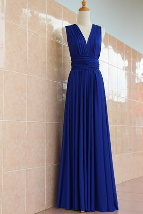Royal blue infinity dress floor length, convertible royal blue dress, party versatile dress floor length