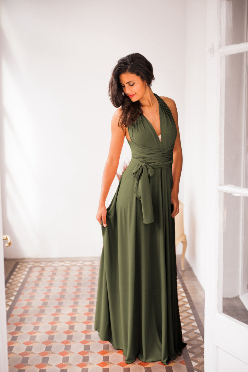 Olive Green Infinity Dress Dark Green Bridesmaid Dress Dark Sage Green Dress Long Dark Green ...
