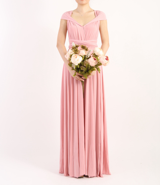 Light Pink Long Dress, Pink Infinity Dress Evening Dresses Straight Hem Floor Length Bridesmaid Dress