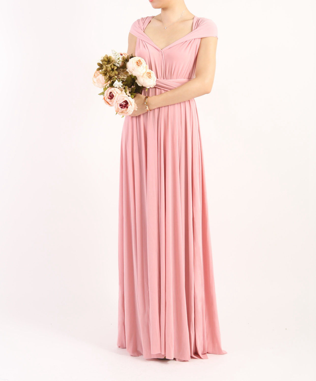 Pink Infinity Dress, floor length wrap dress, pink bridesmaid ...