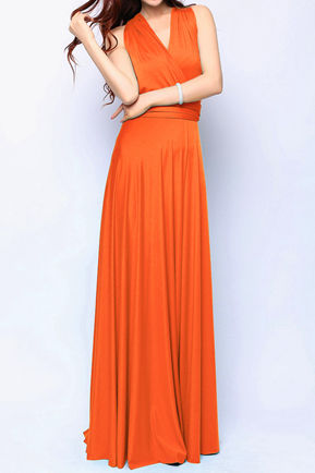 Burn Orange Bridesmaid dress, Convertible Dress, Floor Length Orange Infinity Dress Multiway Dress Wrap dress