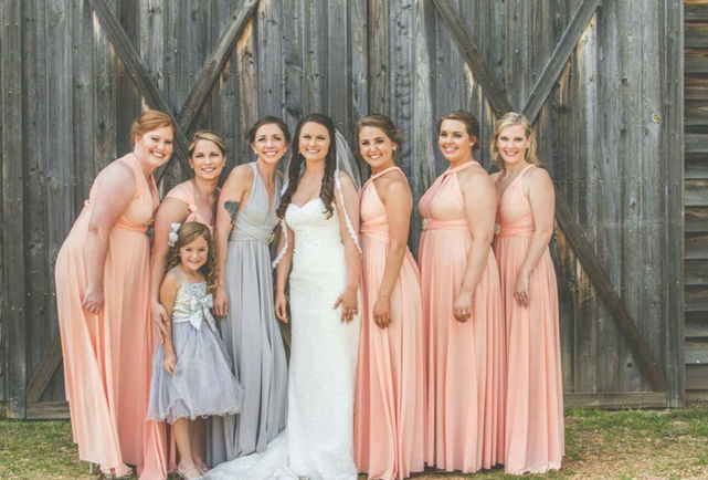 Blush Pink LONG Infinity Dress, Floor Length Convertible Formal Multiway Wrap Evening Dress Bridesmaid Dress Weddings dress