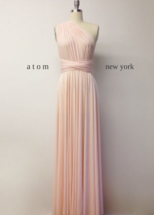 Pale pink bridesmaid dress, Wedding dress Infinity dress stretch pink multiway dress