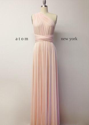 Pale pink bridesmaid dress, Wedding dress Infinity dress stretch pink multiway dress