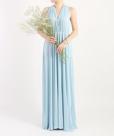 Light Blue Infinity Bridesmaid Dress, Convertible Long Prom Dress, Bridal Party Dress, Summer Evening Dress