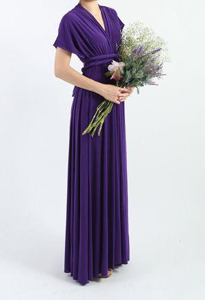 Dark Purple Briedsmaid Dress, Long Purple Dress Floor Length Dress Multiway Dress, Formal Weddings Prom Dress, Made To Order Wrap Dress
