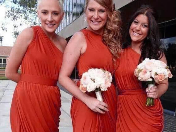 Pastel Orange bridesmaid dress, long bridesmaid dress, Orange wedding, Orange maxi dress, Bridal Party Dress