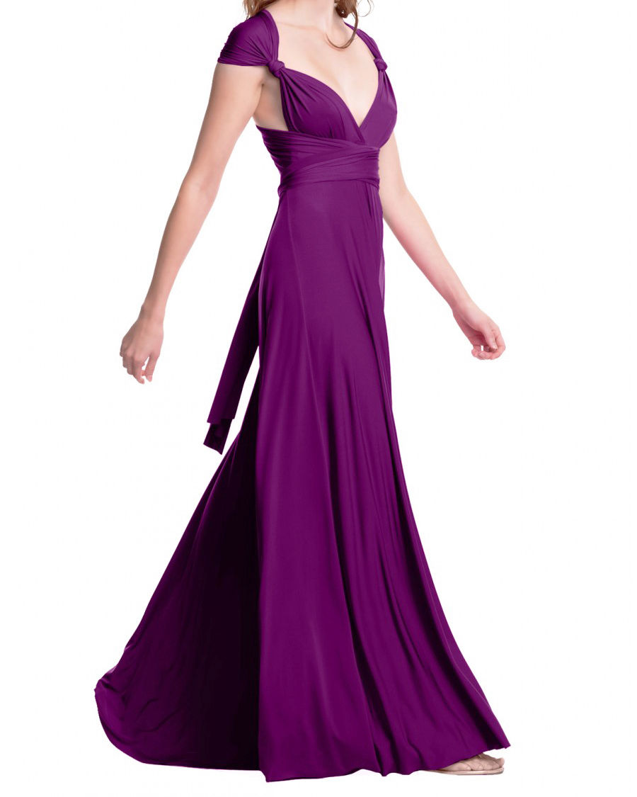 Wrap Bridesmaid Dress, Plum Infinity Maxi Dress, Floor Long dress ...