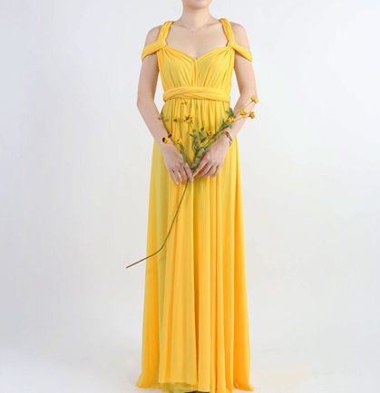 Yellow Party Dress, Lemon yellow dress, Floor Length Bridesmaid Dresses, formal infinity dress,Custom dress