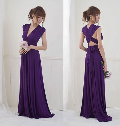 Plum purple infinity dress, Bridesmaids dress, Convertible Dress, Purple long twist wrap maxi dress