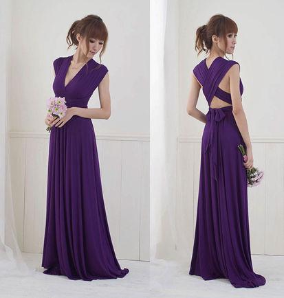 Plum purple infinity dress, Bridesmaids dress, Convertible Dress, Purple long twist wrap maxi dress