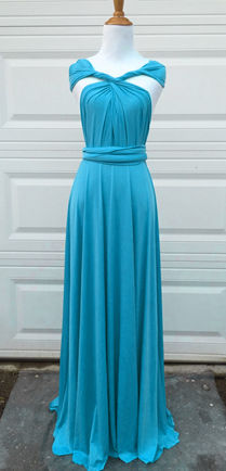 Teal Blue Convertible Dress Floor Length, Bridesmaids, Blue Dress, Teal wedding party dress