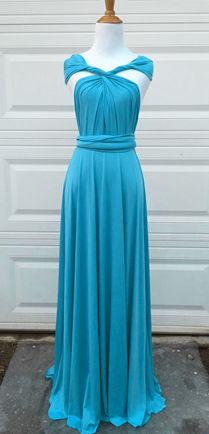 Teal Blue Convertible Dress Floor Length, Bridesmaids, Blue Dress, Teal wedding party dress