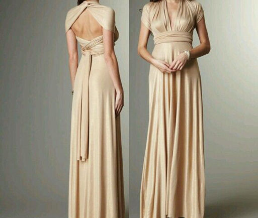 Champagne Long Dress, Champagne infinity dress, Floor length wrap dress, Bridesmaid dress champagne