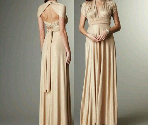 Champagne Long Dress, Champagne infinity dress, Floor length wrap dress, Bridesmaid dress champagne