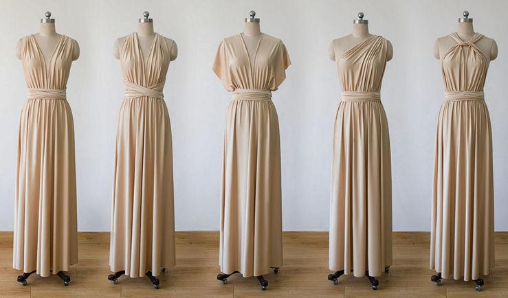 Convertible dress,champagne infinity dress,champagne convertible dress,bridesmaid dresses,convertible wrap dress, prom dress