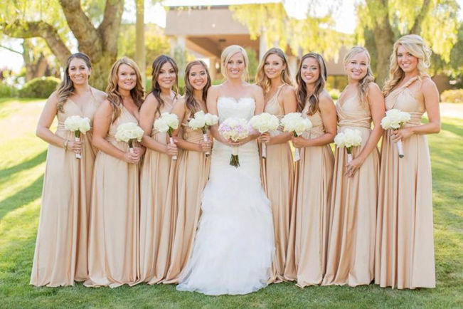 Beige Nude Champagne Floor Length Bridesmaid Dress, Long Infinity Dress Champagne, Evening Dresses