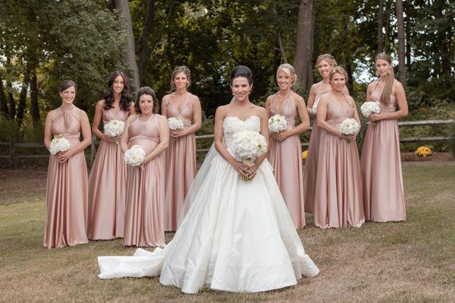 Rose Gold Infinity Convertible Multi-way Dress, Dusty Rose Mauve Long Dress, Long convertible bridesmaids dress