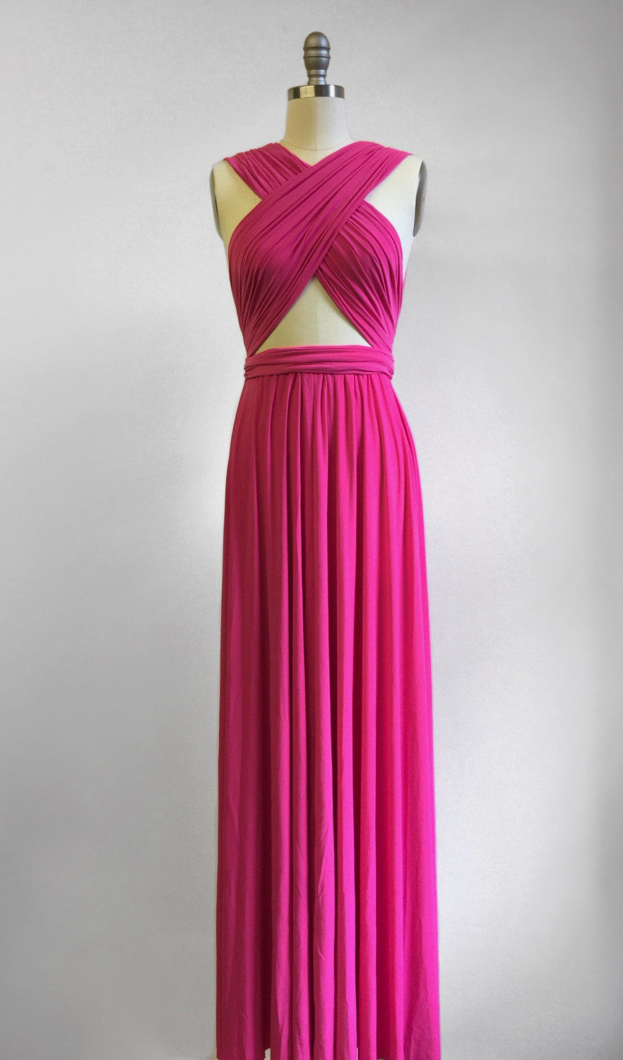 Hot Pink Long Floor Length Wedding Dress Maxi Fuchsia Infinity Party Evening Bridesmaid Dresses