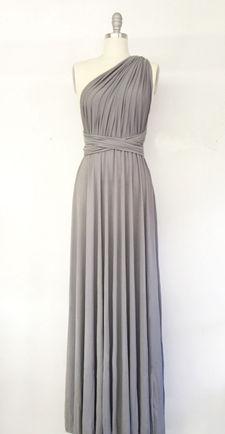 Dark grey bridesmaid dress, Silver Grey Dress, Bridesmaid Convertible Dress, Infinity Wedding Dress Floor Length