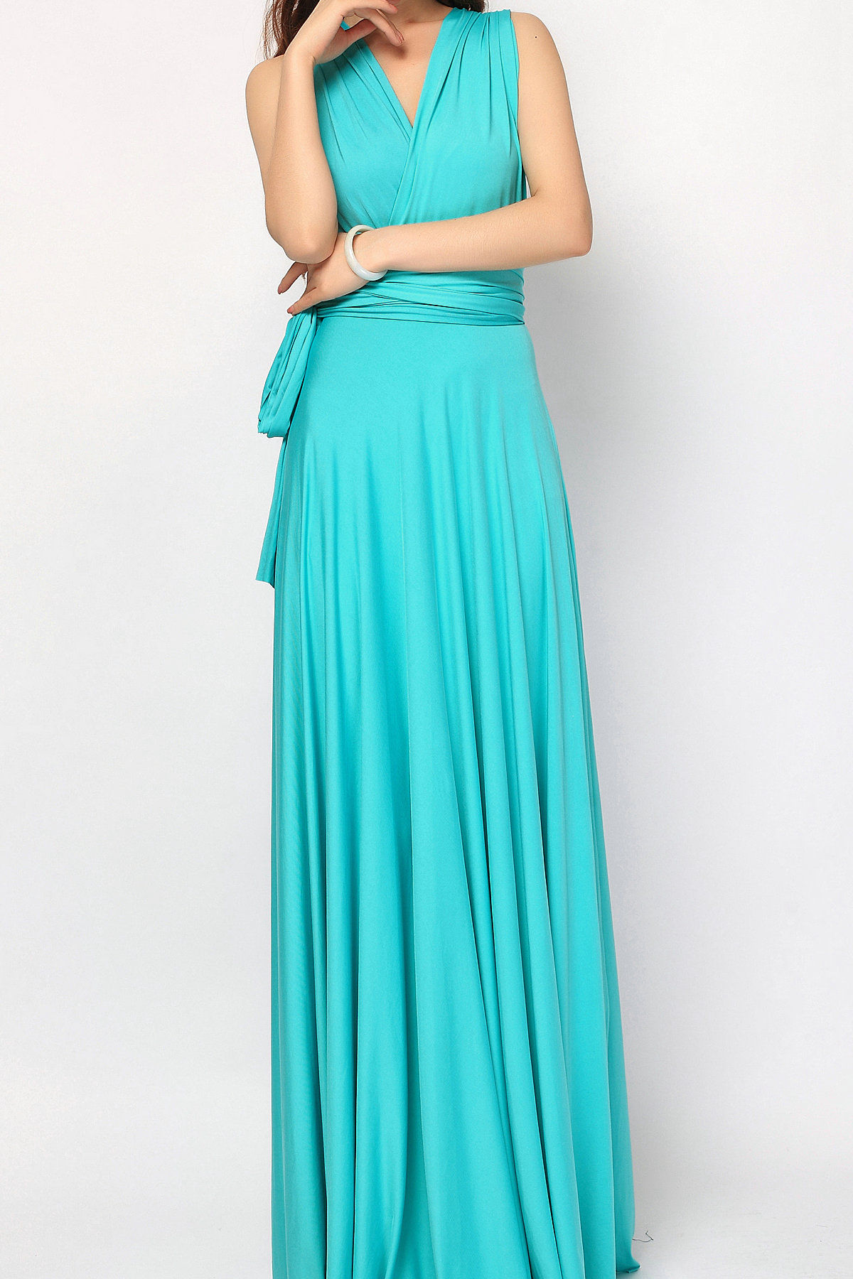 TURQUOISE GREEN Bridesmaids Dress, Turquoise Floor Length Maxi Wrap ...