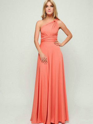 Long coral dress, coral infinity dress, bridesmaid infinity dress ...