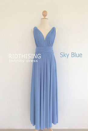 Sky Blue Infinity Dress, Floor length Bridesmaid Dress,Prom Dress Convertible Dress, Long Wrap Dress