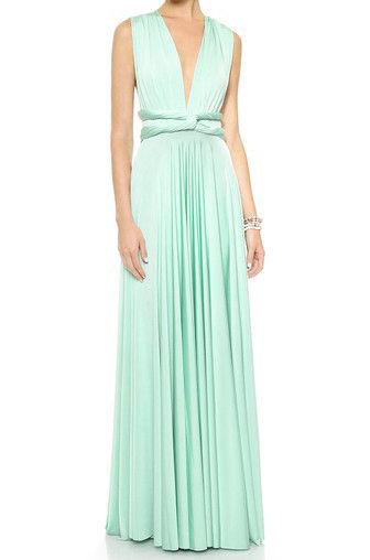 Long convertible dress, mint green infinity dress, Long convertible ...