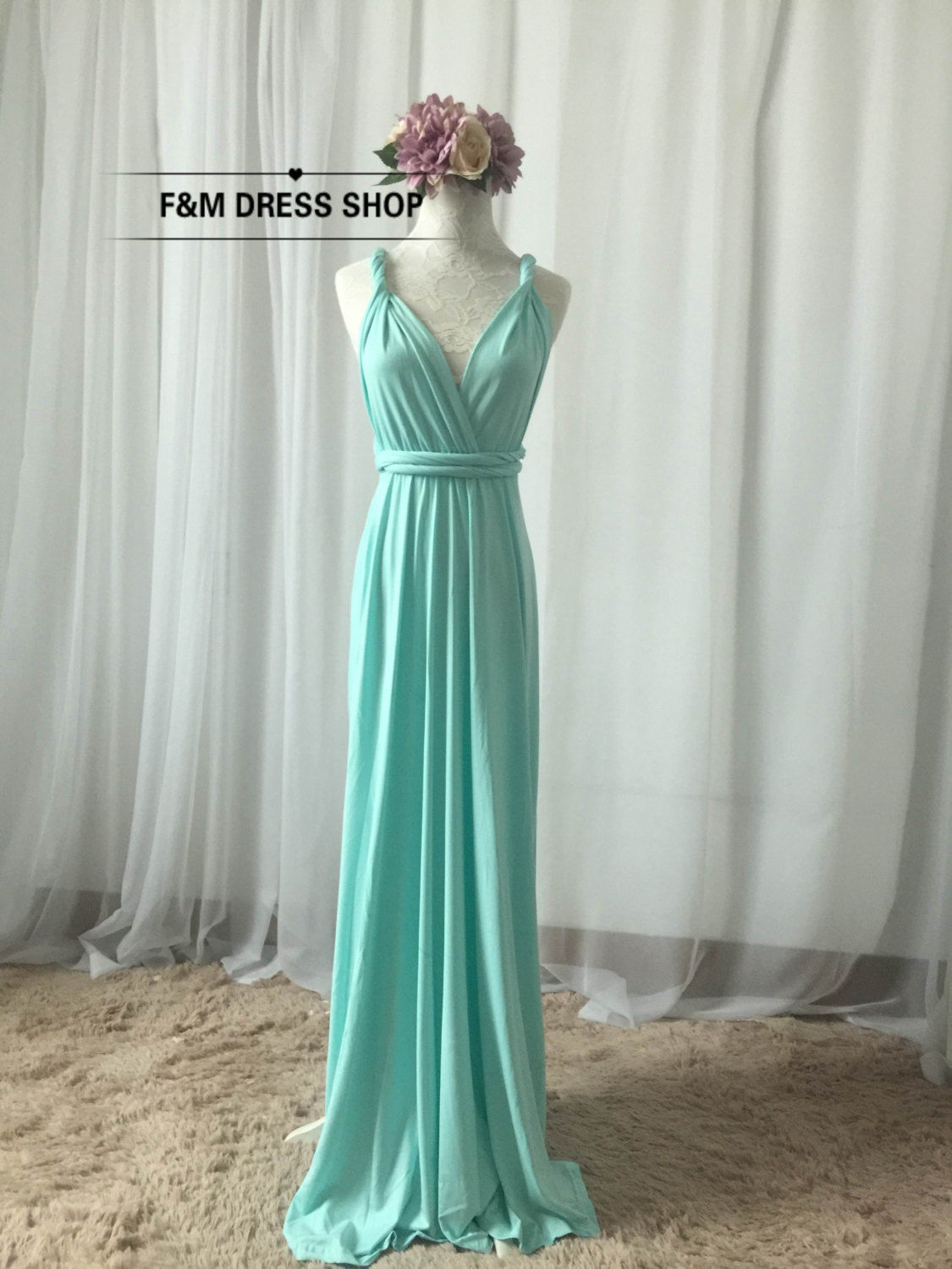 Bridesmaid Dress Infinity Dress Light Baby Mint Blue Floor Length ...