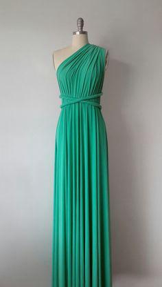 green infinity style women dress, wedding gown, Rustic bridal dress, Green bridesmaids dress, Long convertible bridesmaid dress