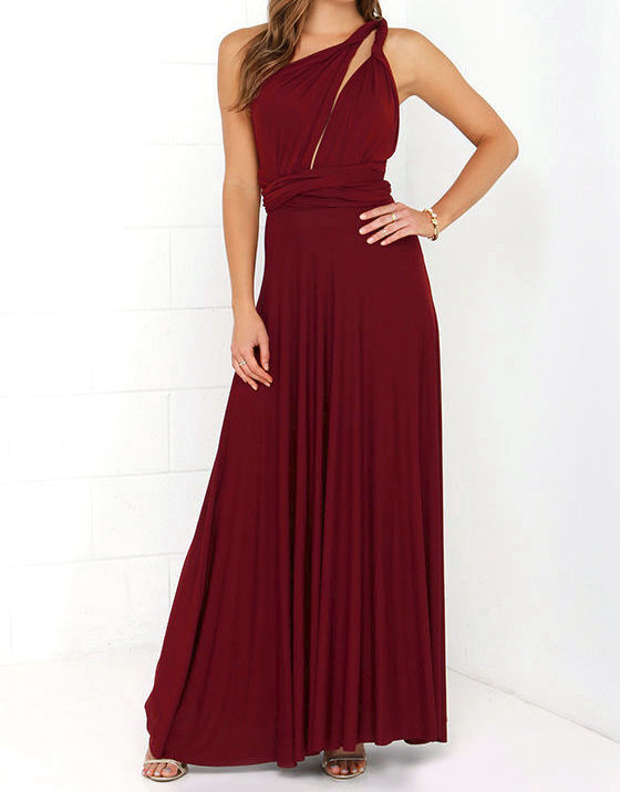 cc07412bba4 Long Straight Hem Wine red Infinity Dress Convertible Dress Multiway ...