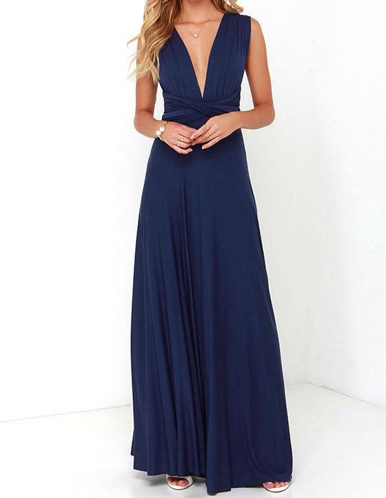 Blue Bridesmaid Dresses, Floor Length Wrap Convertible Dress Wedding Dress, Blue Dresses