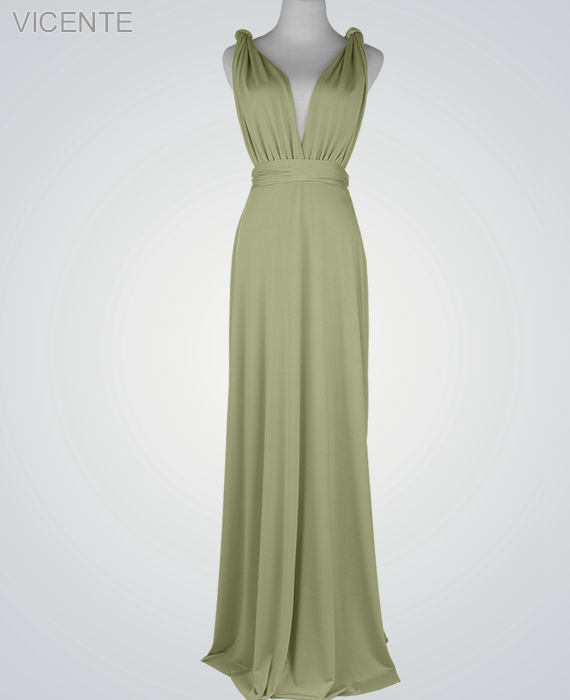 Dress Wedding Guest Long Dresses Sage Green Infinity Wrap Bridesmaid Maid Of Honor