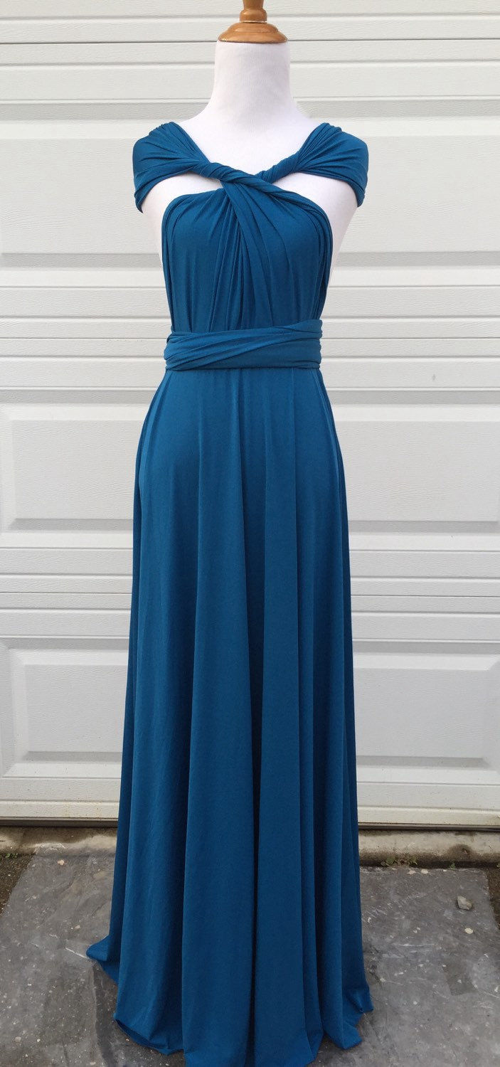 Peacock Teal Infinity Bridesmaid Dress, long bridesmaid dresses Teal, Bridesmaid infinity dress