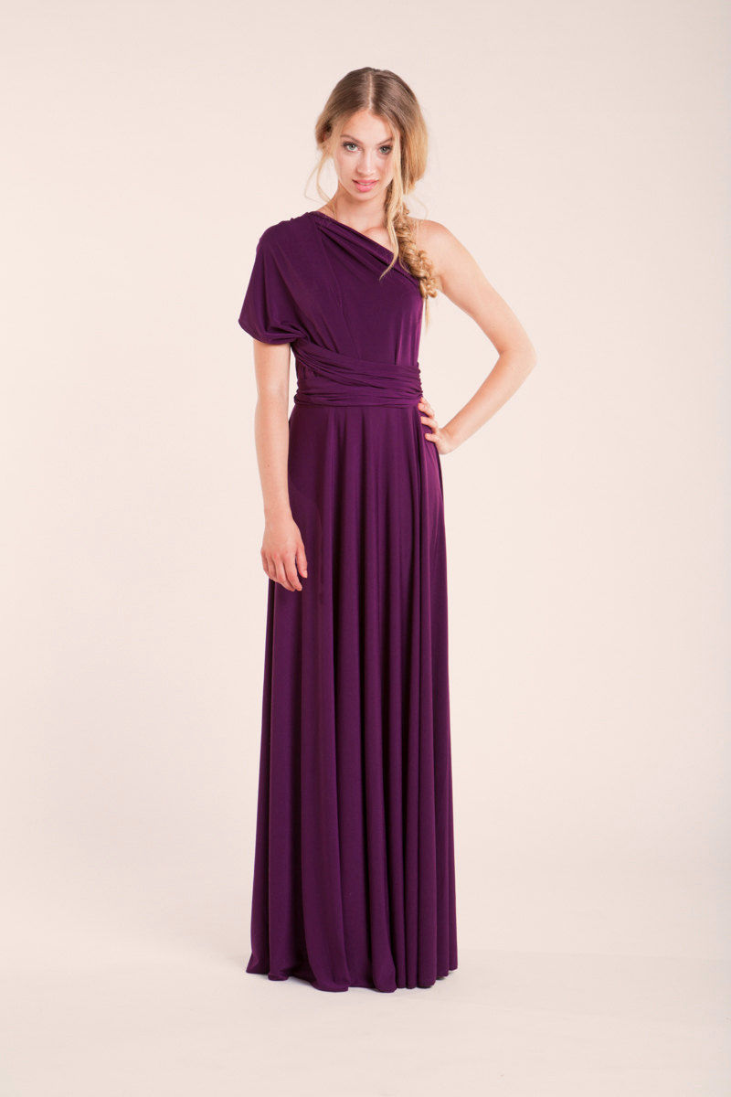 Bridesmaid dress Dark purple, purple infinity dress, Floor Length Purple Dress, convertible dress