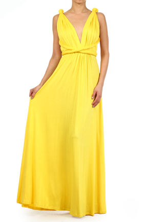 Bright yellow Infinity Dress, Floor Length Wrap Convertible Dress, Evening Cocktail Dress