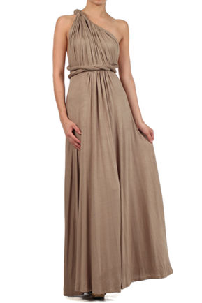 Long Infinity Dress Bridesmaid Dresses, Straight Hem Floor Length Infinity, Brown infinity dress