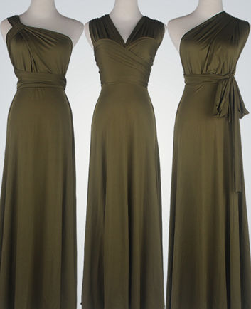 Olive Green Bridesmaid Dress infinity, Olive Green Infinity Dress, Floor Length Formal Dress