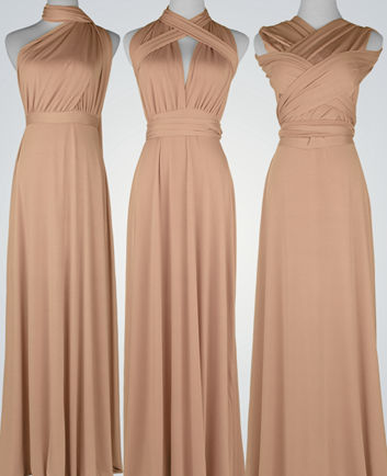 Champagne Wrap Convertible Infinity Dress, Floor Length champagne Bridesmaid Dress, evening dress