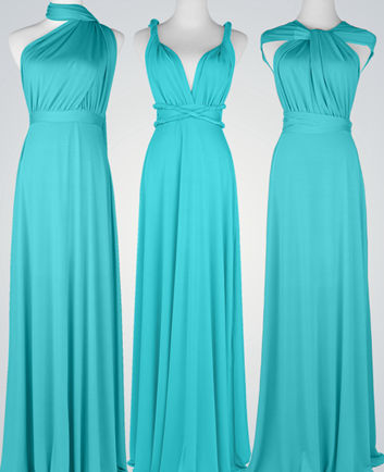 Long infinity dress in BLUE, FULL Free-Style Dress, convertible wrap dress, Mint Blue bridesmaid dress, formal, bridal dress