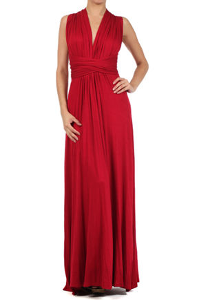 Set of 3 Red Bridesmaid Dresses, Full Length Infinity Convertible Wrap Dress, Multiway Long Dresses