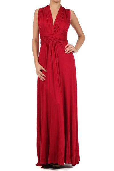 Set of 3 Red Bridesmaid Dresses, Full Length Infinity Convertible Wrap Dress, Multiway Long Dresses